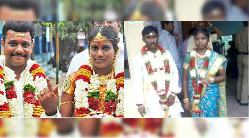 These couple came to vote after their marriage in South India
