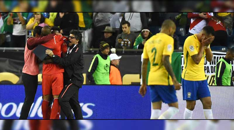 Brazil tumble out of Copa América in group stage after Peru's handball goal