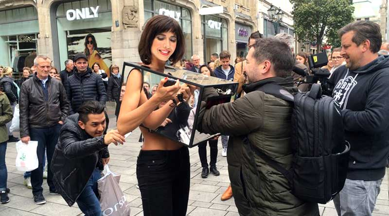 Swiss woman allows strangers to touch her private parts in public