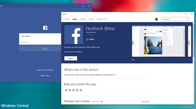 Official Facebook app arrives on Windows 10