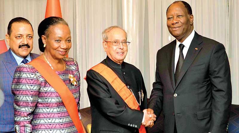 Pranab Mukherjee honoured in Ivory coast