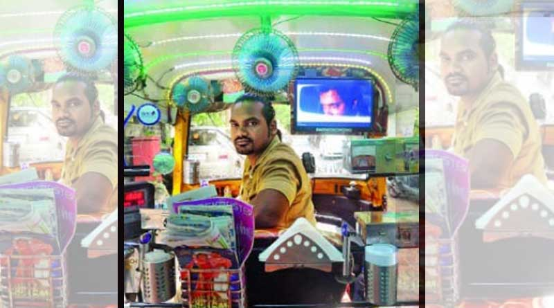 Here's why passengers stop to take selfies with him and his three-wheeler