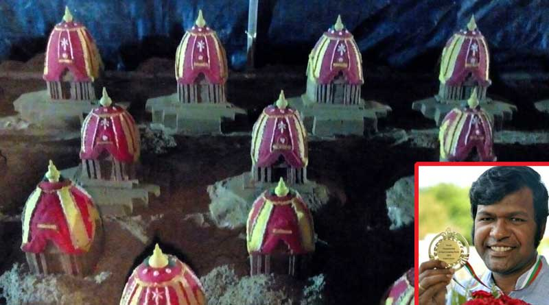 Sand artist Sudarshan Pattanaik aims to create a world record for maximum number of raths on Puri Beach