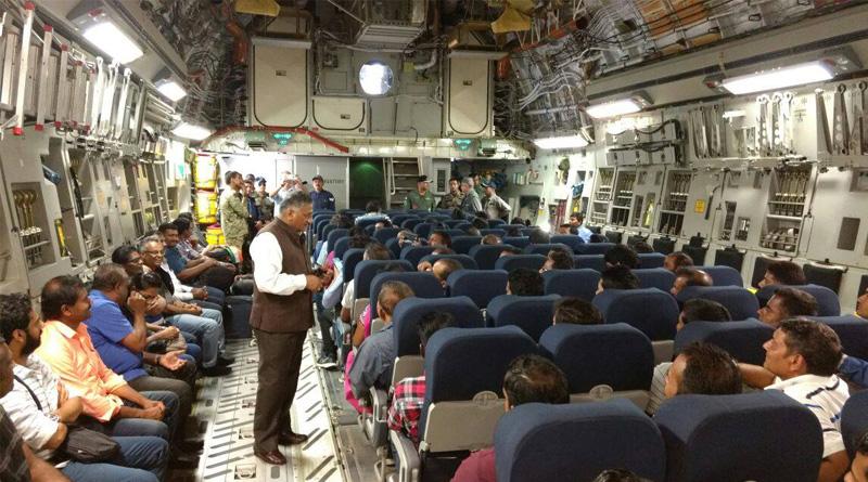 IAF's C-17 lands in Delhi, Union Min Vijay Goel receives Gen VK Singh who is leading the operation Sankat Mochan