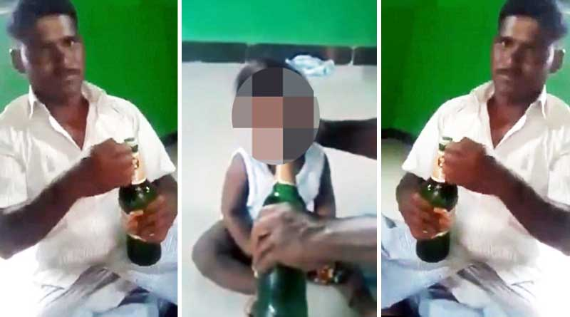 Father forces his 10-month-old baby to drink beer