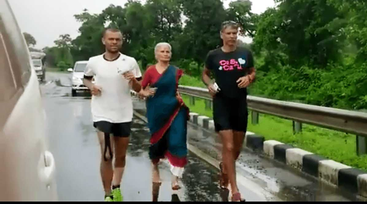 Milind Soman's Mother Joins Her son On His Ahmedabad-Mumbai Run