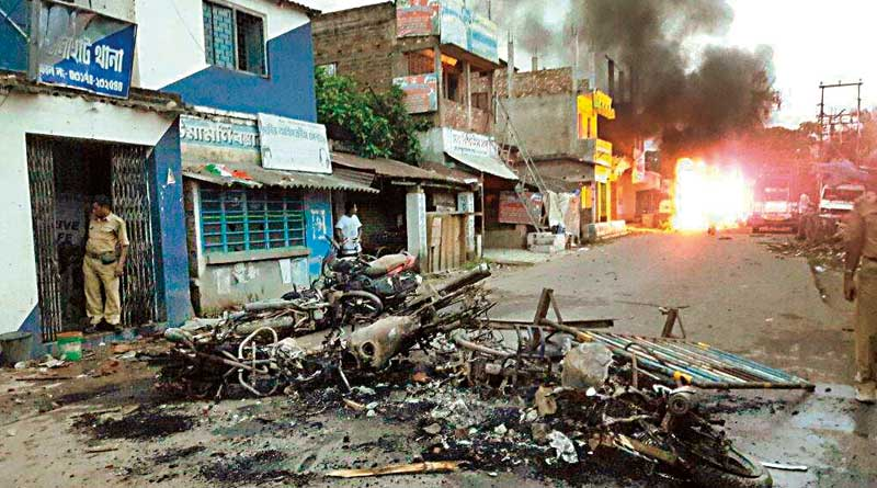 Violent clashes between police and civilians at Dholahat