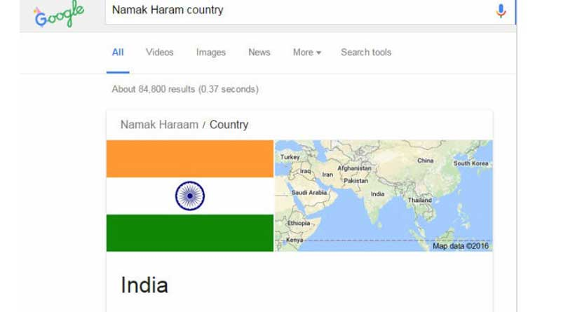 Google 'namak haraam country' and Indian flag will show