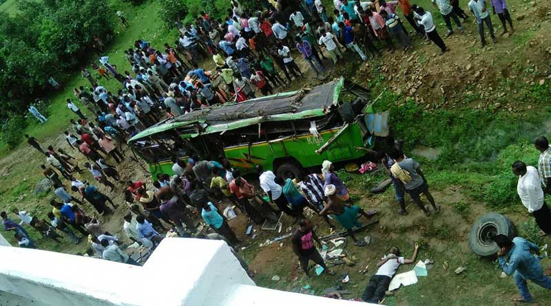 16 killed, 30 injured as a bus falls off an old bridge in Odisha