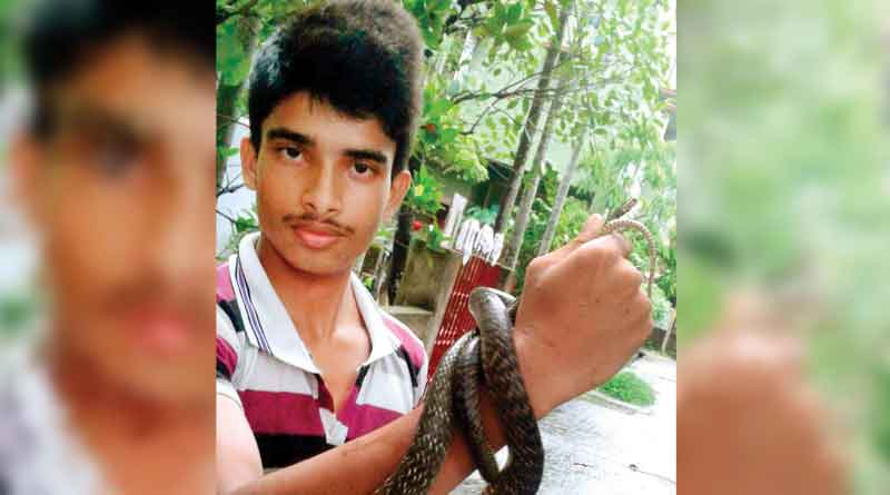 Young Chirantan plays with snakes and reptiles