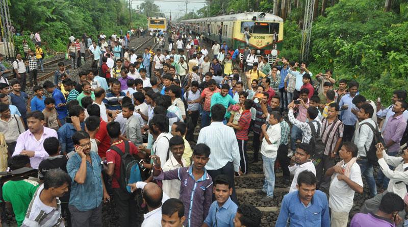 Train blockade in sealdah main section