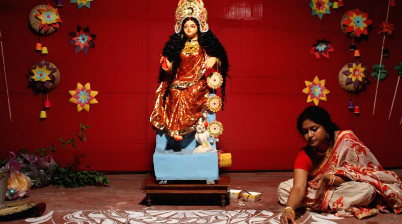 After Dasami, Durga returned to Kailash with daughter Lakshmi