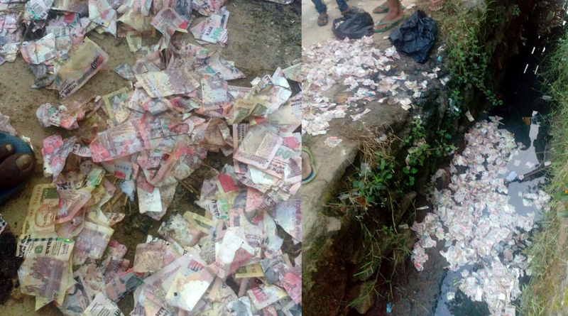 Currency notes of Rs 500/1000 found in a drain in Rukmininagar area of Guwahati