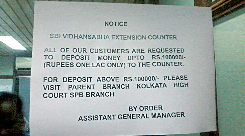 MLA can deposit only one lacs in SBI branch located near west bengal state assembly