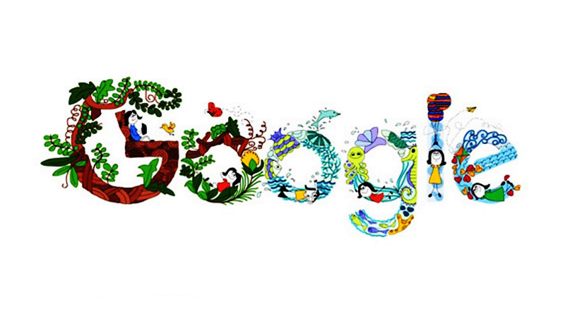 11 years Old Makes the doodle for Google clebrating Children's Day
