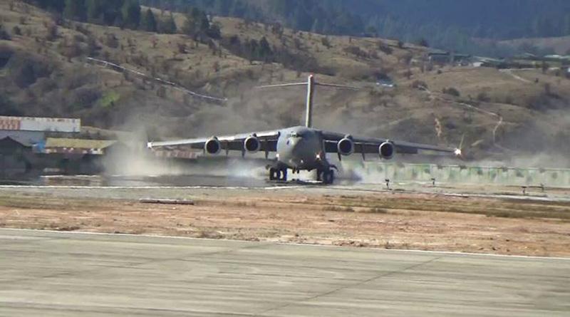 IAF lands Largest Transport Plane C-17 Globemaster In Arunachal Near Indo-China Border