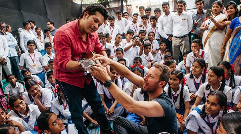 Sachin Tendulkar played guitar with Coldplay's Chris Martin