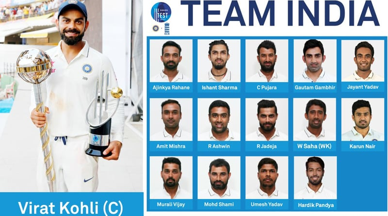 Team India squad for first two Tests against England has announced