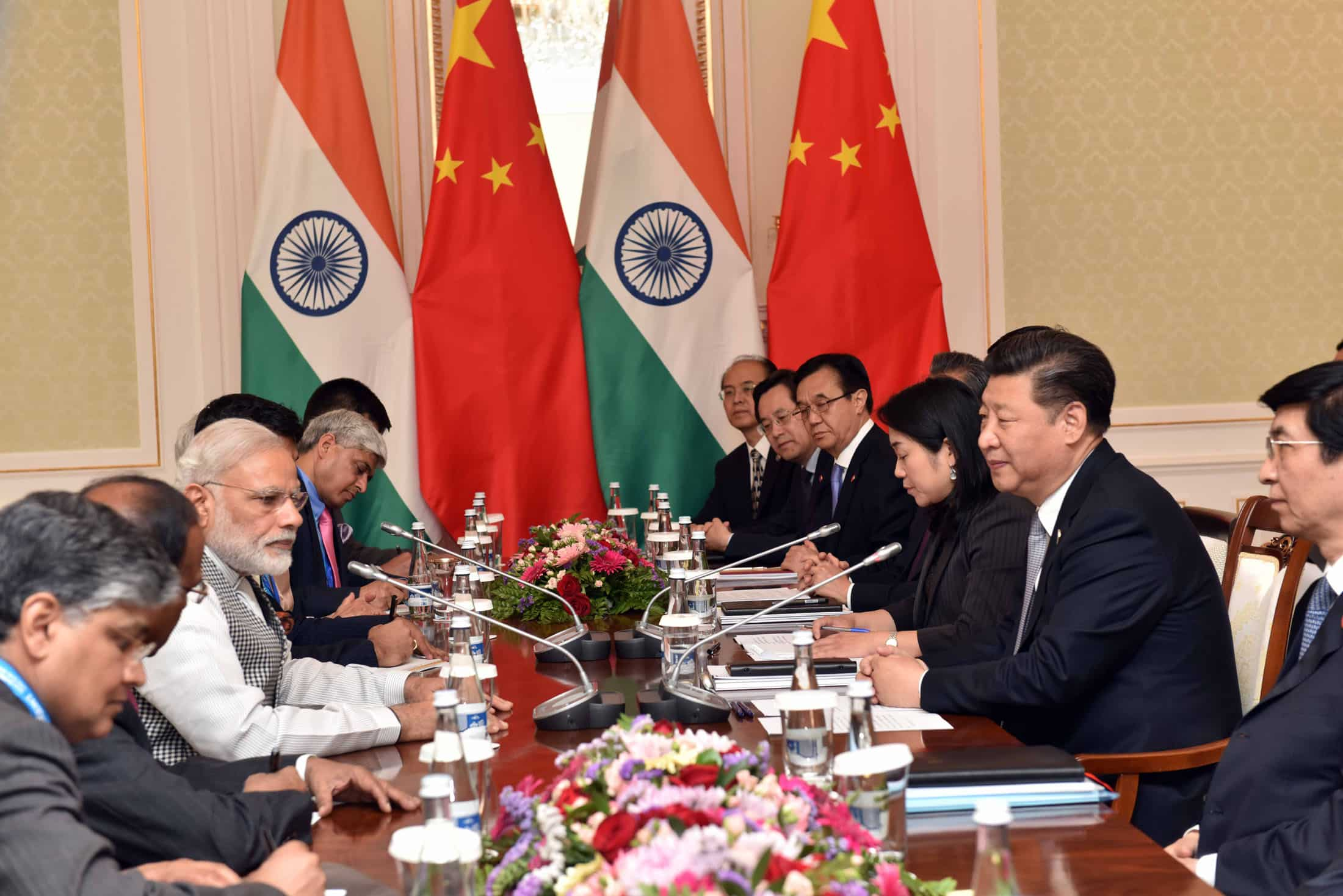 The Prime Minister, Shri Narendra Modi in a bilateral meeting with the President of the People's Republic of China, Mr. Xi Jinping, in Tashkent, Uzbekistan on June 23, 2016.