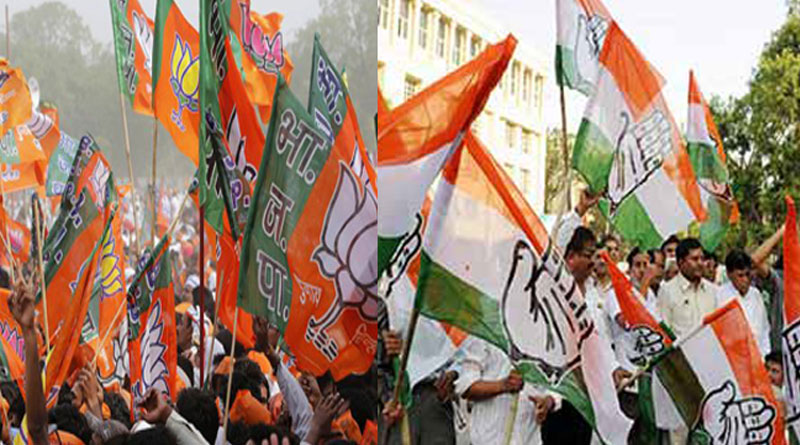 In Gujarat student make BJP flag, claims congress