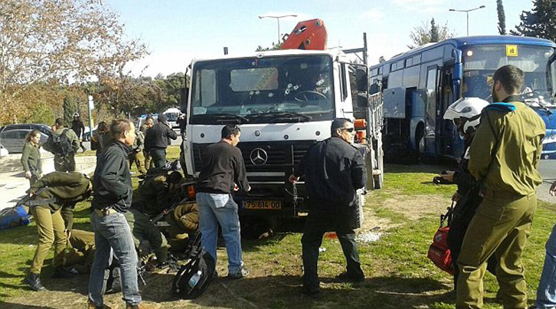 Truck attacker is shot dead after killing three and wounding at least 15 Israeli soldiers