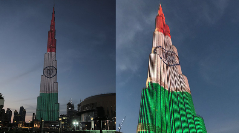 Burj Khalifa lights up in the tiranga, on eve of Crown Prince attend'g India's Republic Day