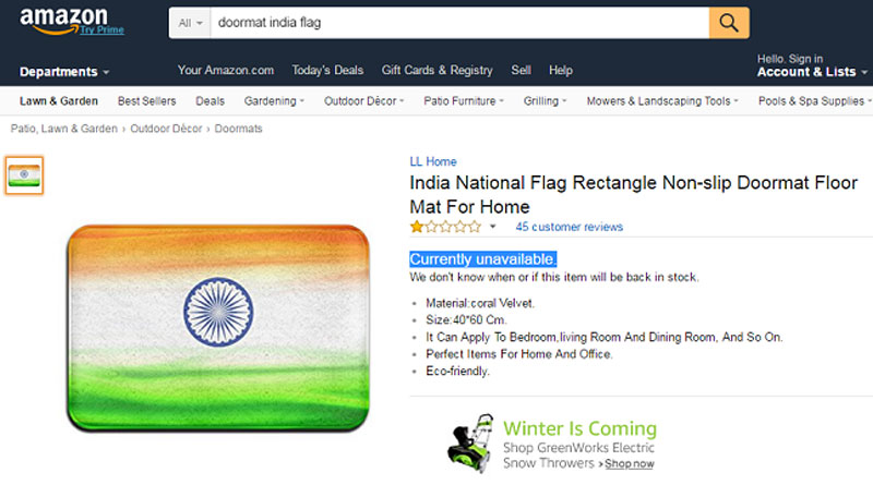 Furor after amazon starts selling Indian Flag Doormat