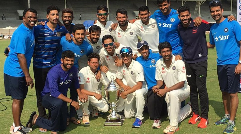 riding on Wriddhiman Saha's blasting double ton Rest of India clinch Irani Trophy