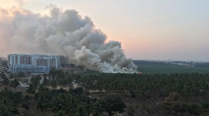 Bellandur lake in Bengaluru caught fire