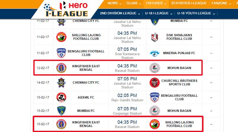 Sparking confusion I League official site shows derby venue at Barasat