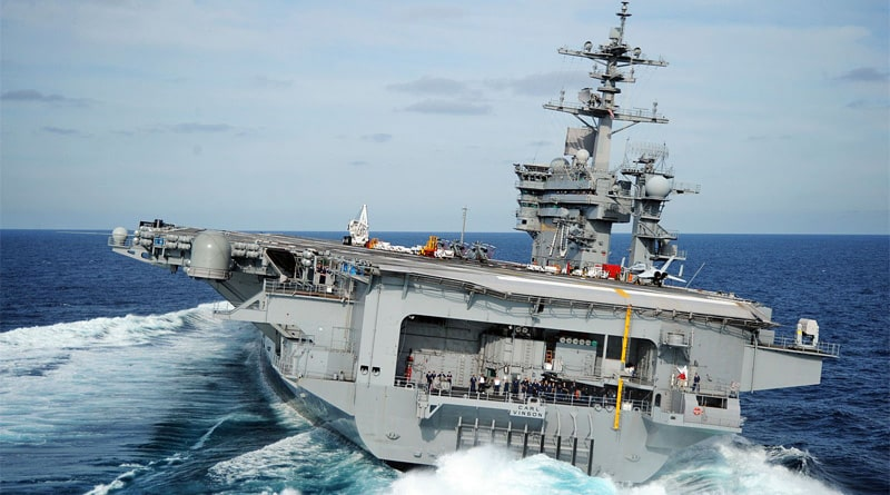 USS Carl Vinson led a carrier strike group in 400 nautical miles east of China's Hainan Island