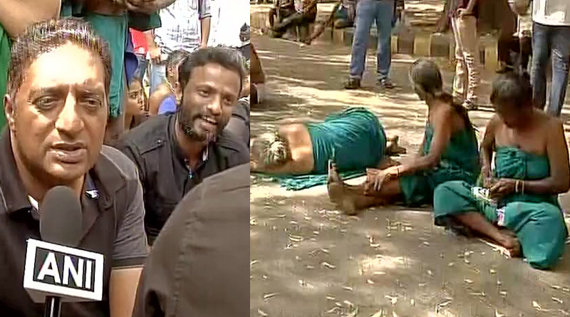Actor Prakash Raj extends support to draught stricken farmers protesting at Jantar Mantar
