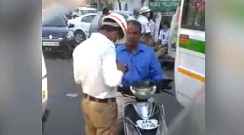 Hyderabad cop caught on camera taking bribe, suspended