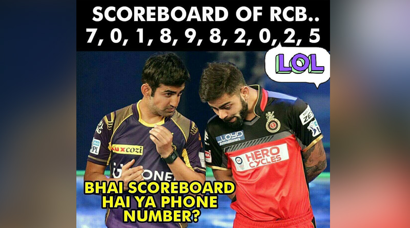 RCB trolled on social media after being humiliated by KKR