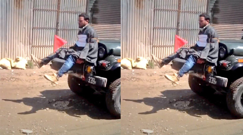 Omar Abdullah posts video of a Kashmiri youth tied infront of an army Jeep