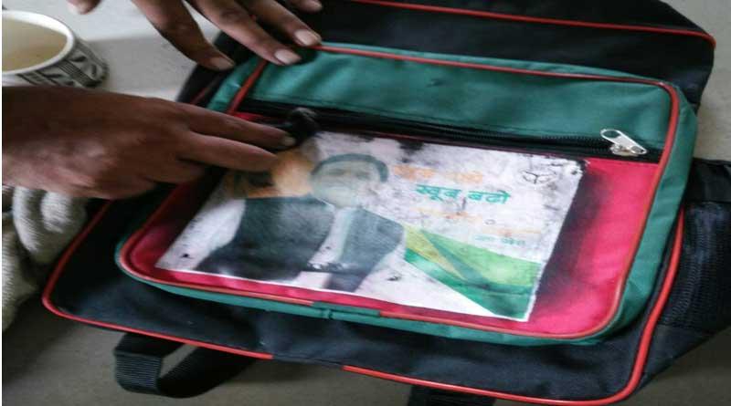 Akhilesh Yadav makes an appearance on Gujarat school bags