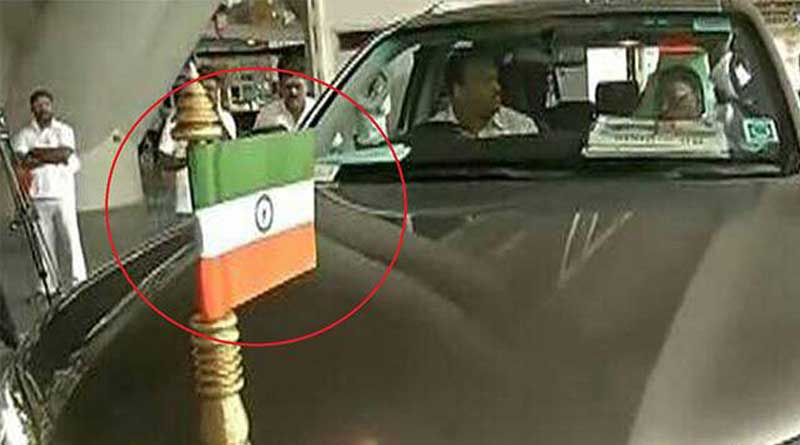 Upside down national flag on Puducherry CM Narayanasamy's car