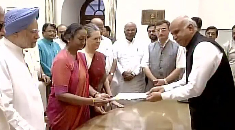 Opposition presidential candidate Meira Kumar files nomination
