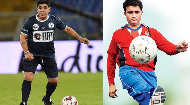 Sourav Ganguly shake boot with legendary Diego Maradona in India