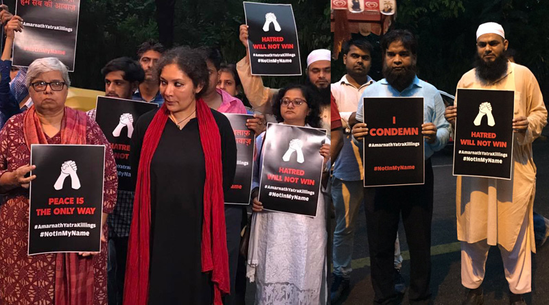 Not In My Name: Protest gathering against Amarnath Terror Attack at Jantar Mantar