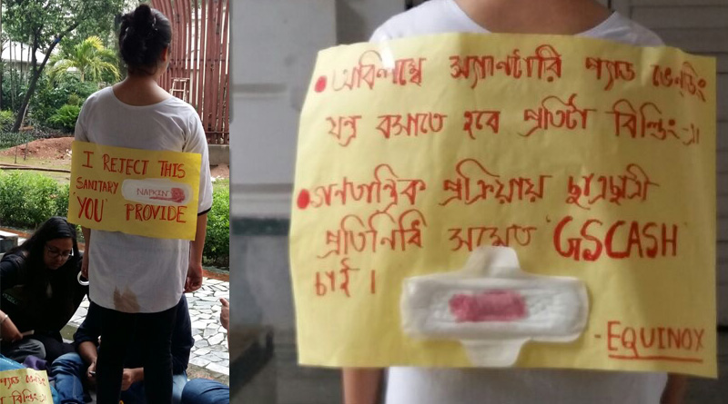 Girl students launch 'No Sanitary Pad' protest in Presidency University