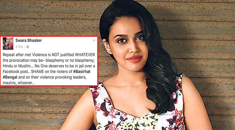 Actress swara Bhaskar strongly condems basirhat flare up,seeks Maanav Suraksha Kanoon