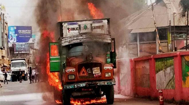Mob sets truck on fire alleging it was-carrying-beef