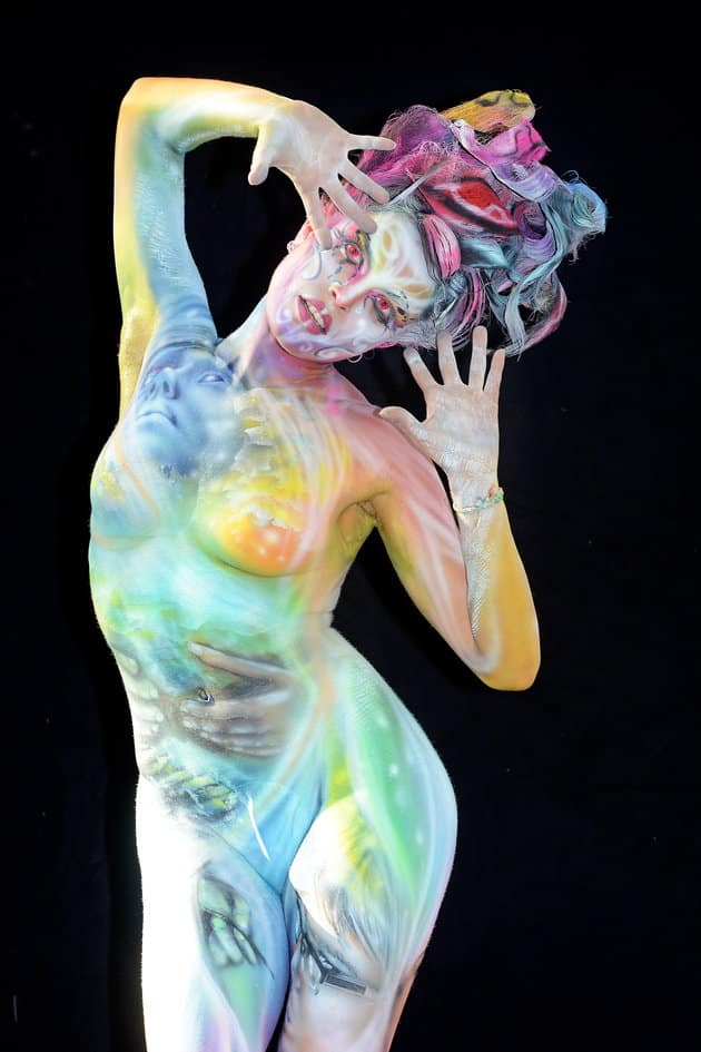 KLAGENFURT, AUSTRIA - JULY 29: (EDITORS NOTE: Image contains partial nudity.) (EDITORS NOTE: Image contains partial nudity.) A model poses with her bodypainting designed by bodypainting artist Alla Krasnova from Russia during the 20th World Bodypainting Festival 2017 on July 29, 2017 in Klagenfurt, Austria. (Photo by Didier Messens/Getty Images)