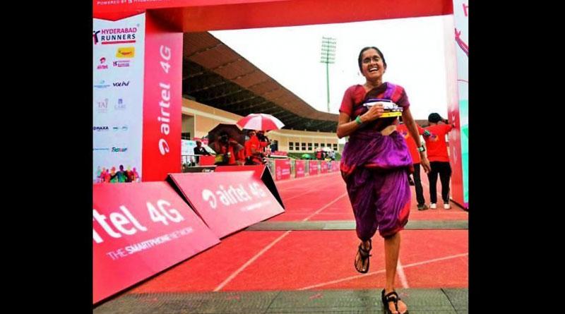 Marathoner Jayanthi Kumar Sampath finishes race in saree