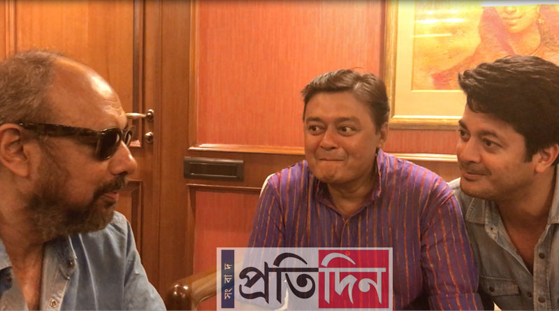 Jisshu, Saswata, Anjan Dutt in Sangbad Pratidin's office to promote 'Byomkesh O Agniban'
