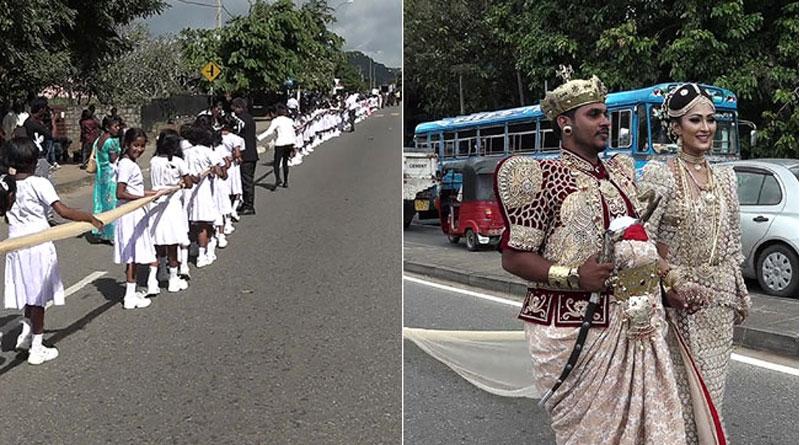 Sri Lankan couple employs 250 students to carry 'Longest Saree', probe ordered