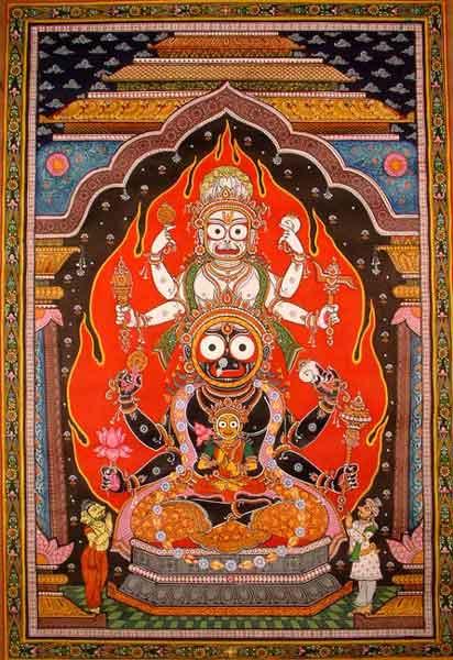 ওড়িশি পটচিত্রে জগন্নাথ-বলরাম-সুভদ্রা