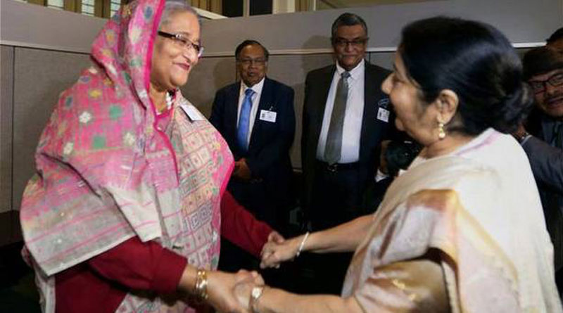 Sushma Swaraj gifts revolver to Sheikh Hasina