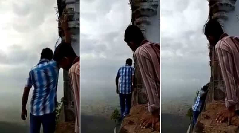 TN: Man falls off 3500-ft-high cliff taking rounds of a temple